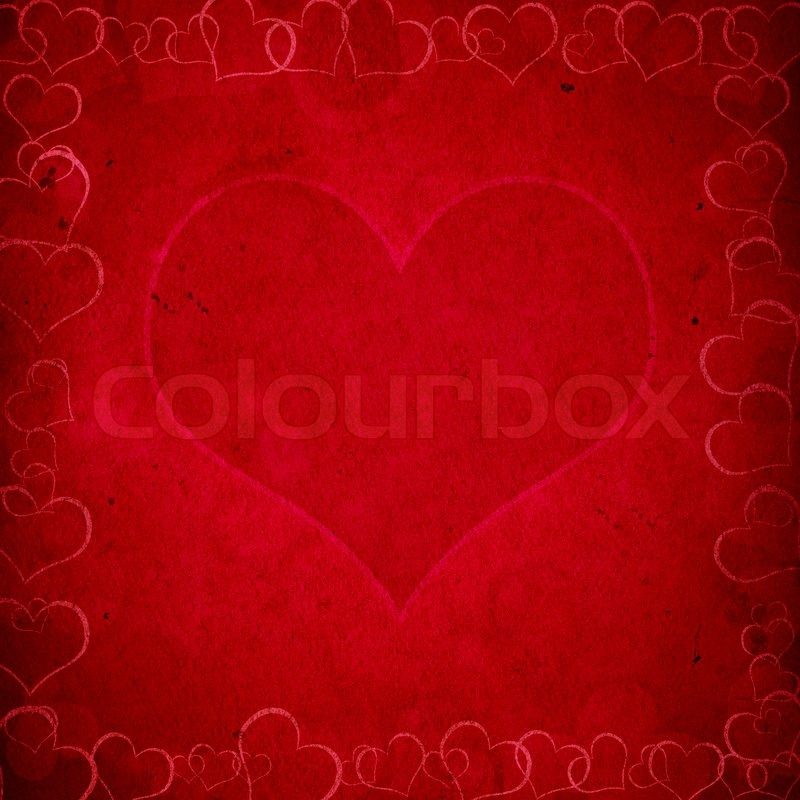 Stock image of 'Red valentine's grunge background with hearts'