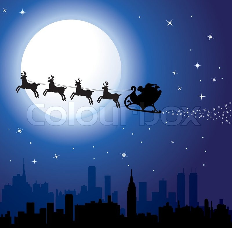 Stock vector of 'Vector urban holiday background with santa'