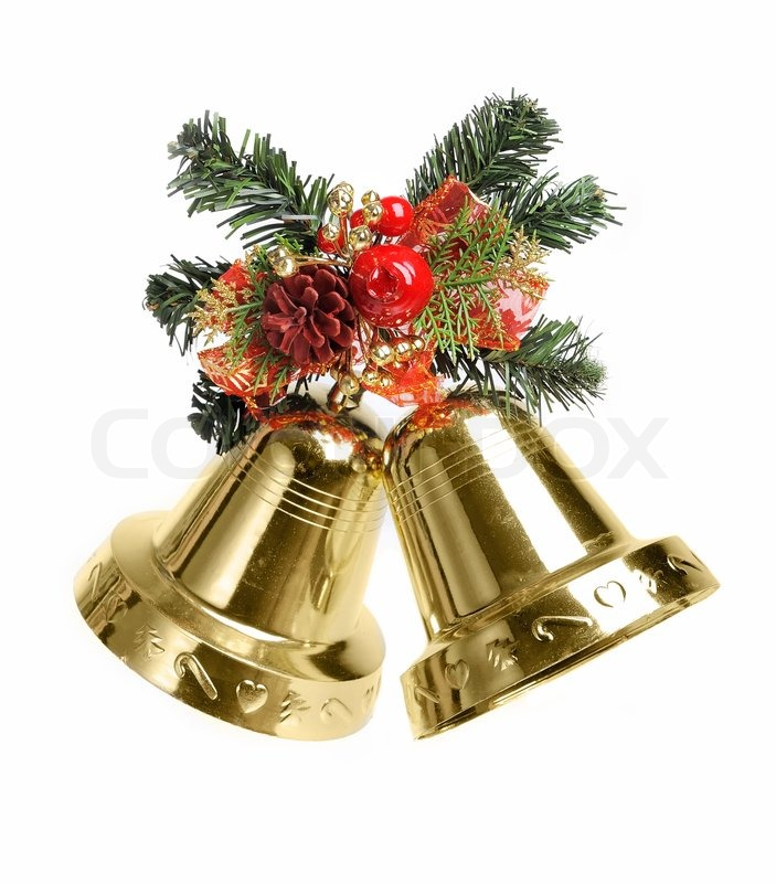 Christmas Decoration With Bells Isolated On White