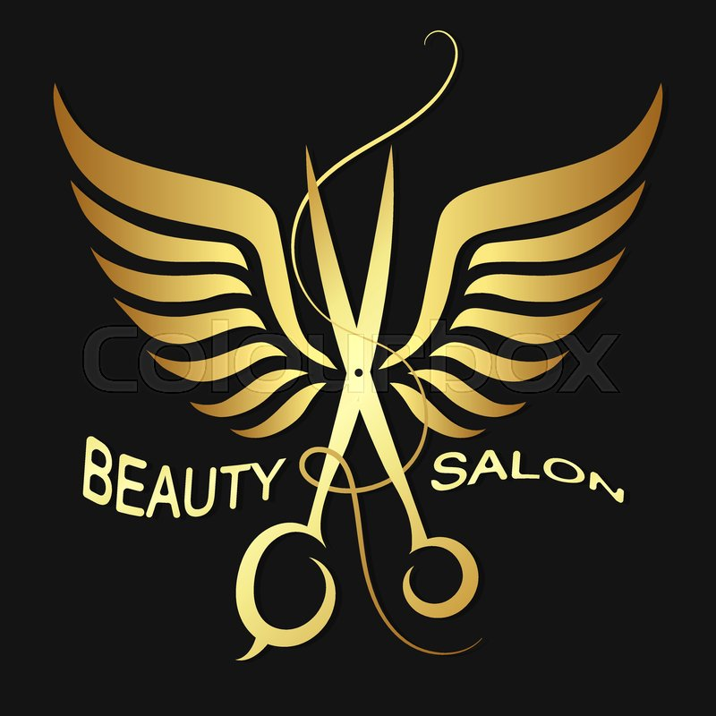 Scissors With Wings Symbol For Beauty Salon And Hairdresser Stock