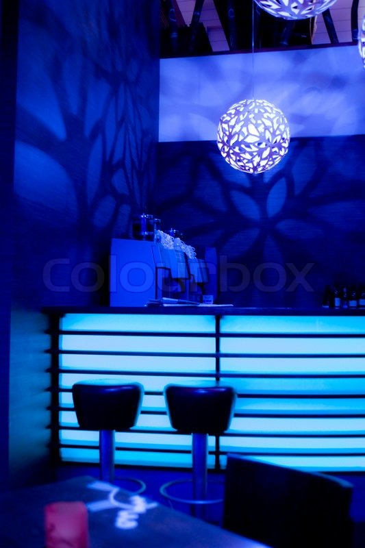 Bar With Blue Neon Lights Stock Photo Colourbox