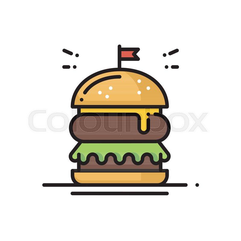 Burger Line Icon Hamburger Sign And Symbol Fast Food Stock