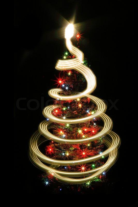 color christmas lights as very nice christmas tree stock photo colourbox
