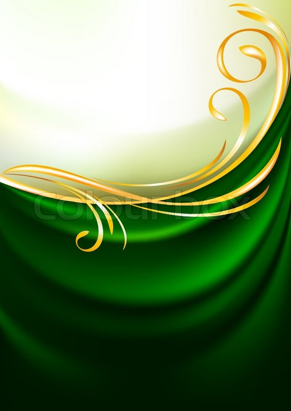 Green fabric curtain, background. Gold vignette | Vector | Colourbox