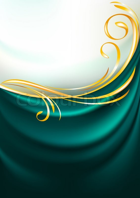 Dark Emerald Fabric Curtain Background Gold Vignette Vector