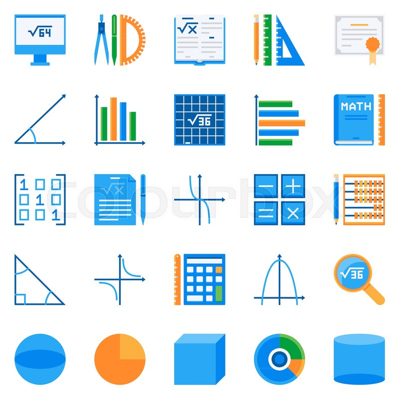 Math Flat Icons Vector Colorful Mathematics Or Algebra Creative