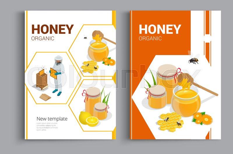 Organic Raw Honey Design Brochure Stock Vector