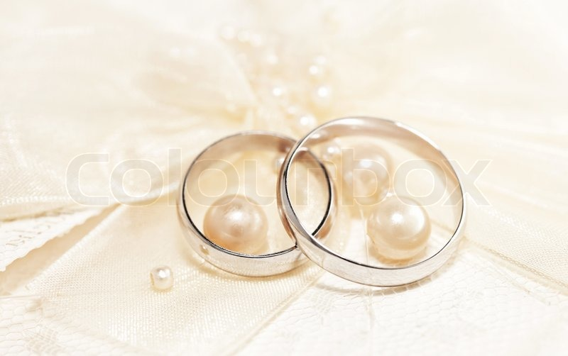 Pair Of Golden Wedding Rings Over Stock Image Colourbox