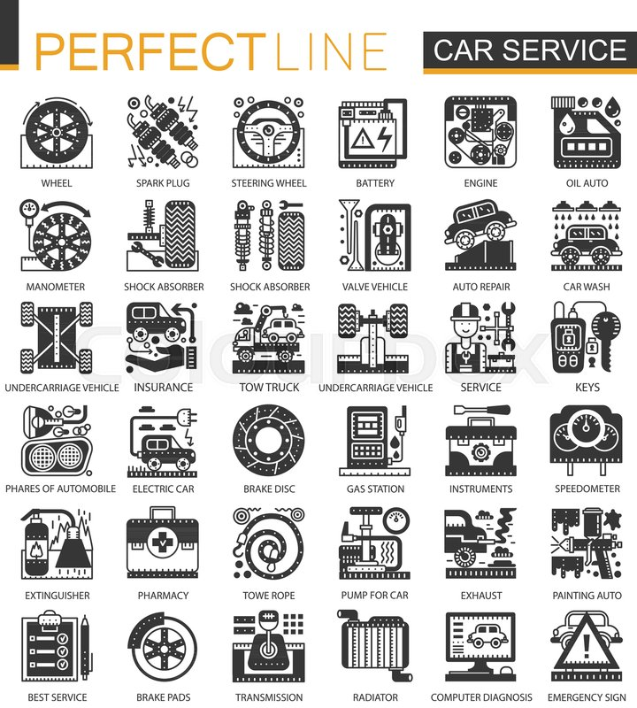 Vector Car Service Black Mini Concept Icons And Infographic Symbols