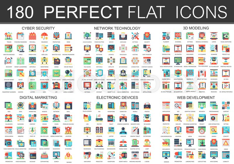 180 Vector Complex Flat Icons Concept Symbols Of Cyber Security