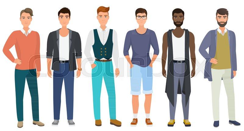 d306710d Stylish handsome men dressed in modern ...   Stock vector   Colourbox