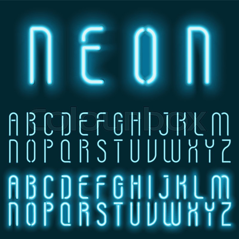 Neon blue light alphabet vector font      | Stock vector