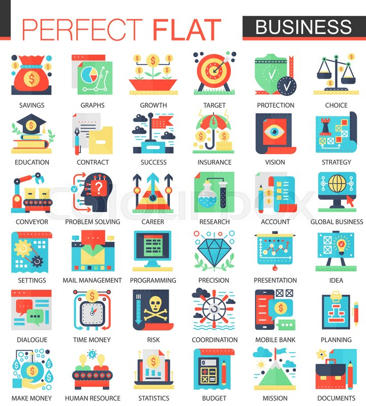 Vector Modern Business Vector Complex Flat Icon Concept Symbols For
