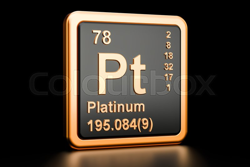 Platinum Pt Chemical Element 3d Rendering Isolated On Black