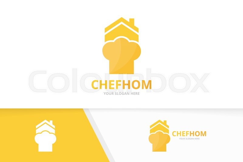 Vector chef hat and real estate logo combination. Kitchen and house ...