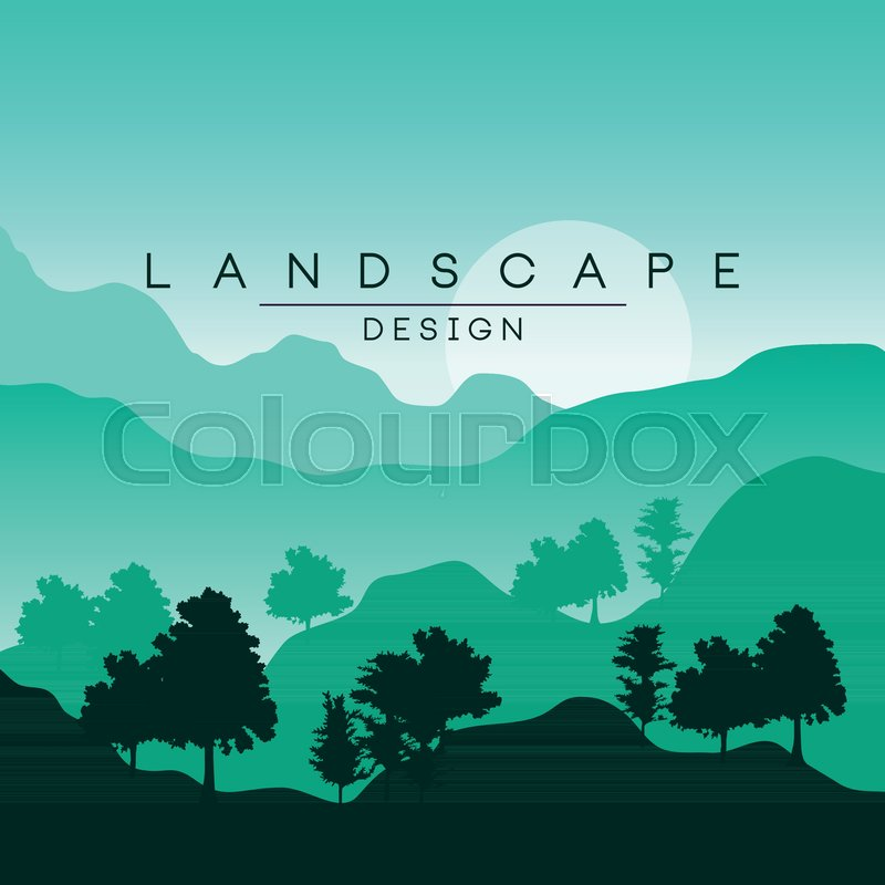 Beautiful Peaceful Mountain Landscape With Forest Nature Background In Green Colors For Banner Flyer Poster And Cover Vector Ilustration Web Design