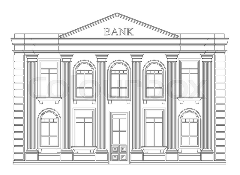 Bank Building Outline Icon Isolated Elegant Thin Line Style Drawing Design