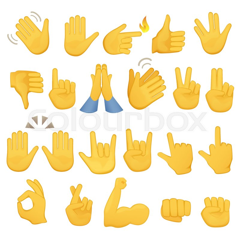 Set Of Hands Icons And Symbols Emoji Hand Icons Different Gestures
