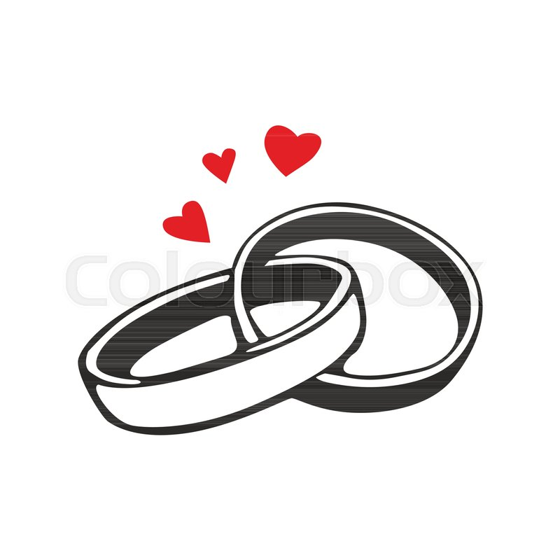 Vector black wedding rings icon on white background Stock Vector