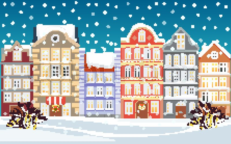 Christmas town illustration. Xmas snowy old town. Cartoon ...