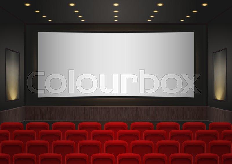 Interior Of A Cinema Movie Theatre Stock Vector Colourbox