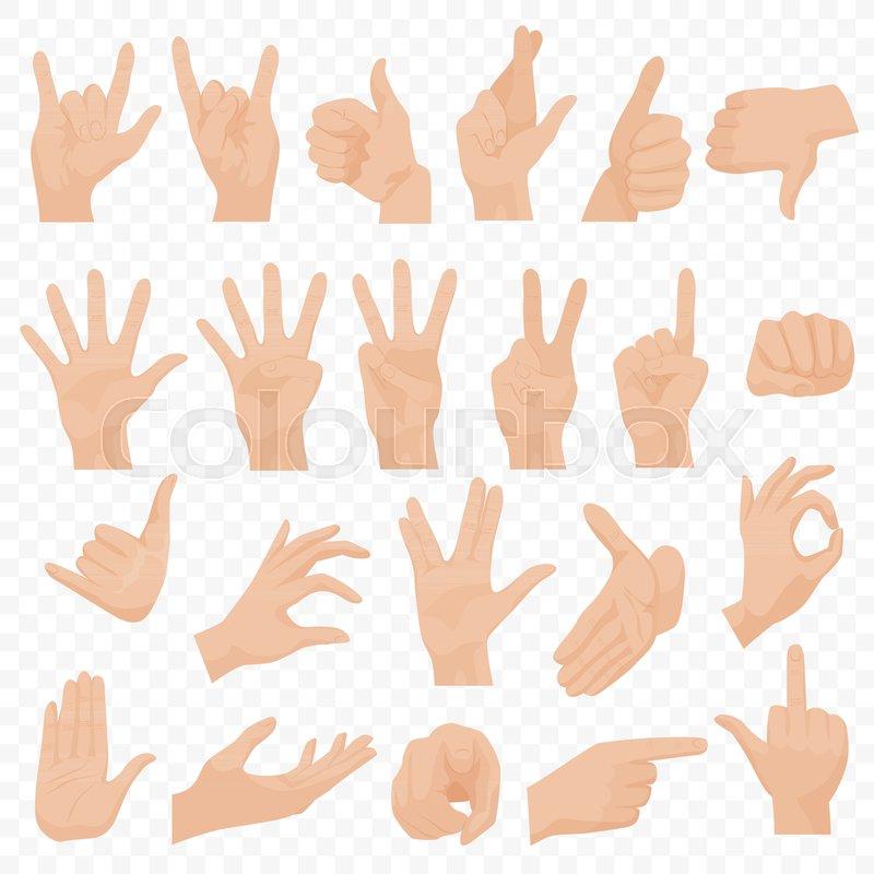 Realistic Human Hands Icons And Symbols Set Emoji Hand Icons
