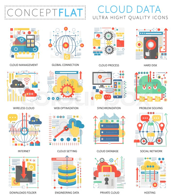 Infographics Mini Concept Cloud Data Stock Vector Colourbox