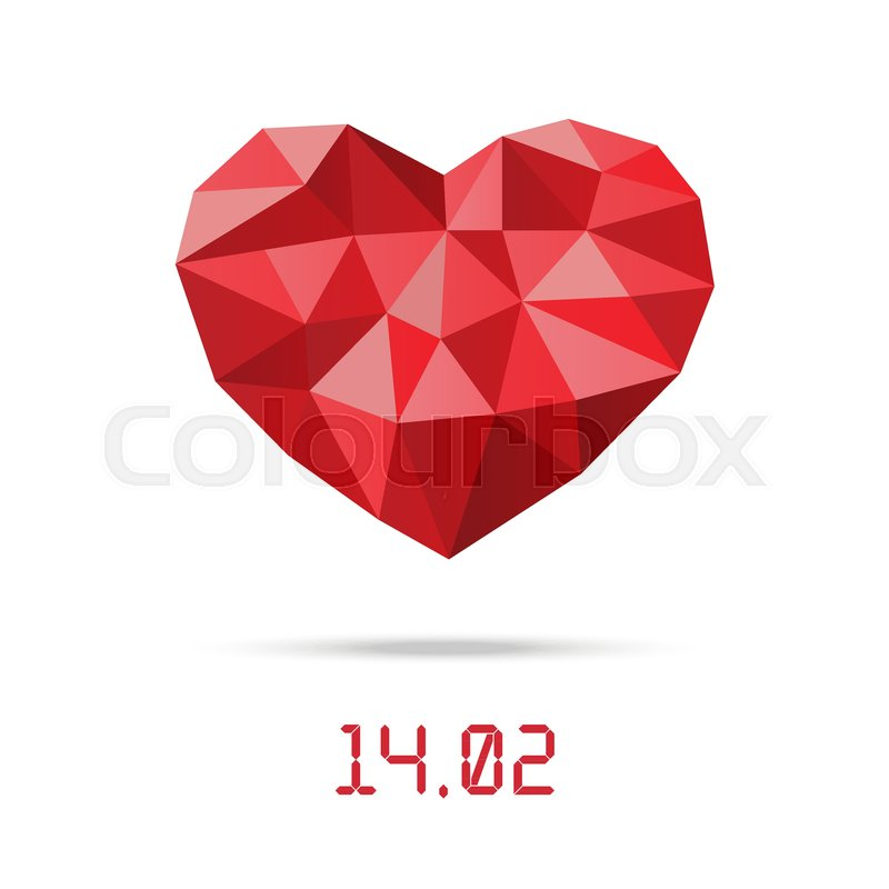 Happy Valentines Day Design Template Low Polygonal Heart With