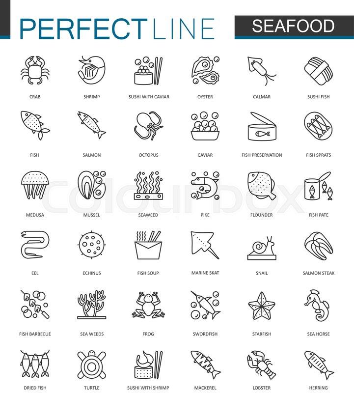 seafood thin line web icons set fish food for restaurant menu