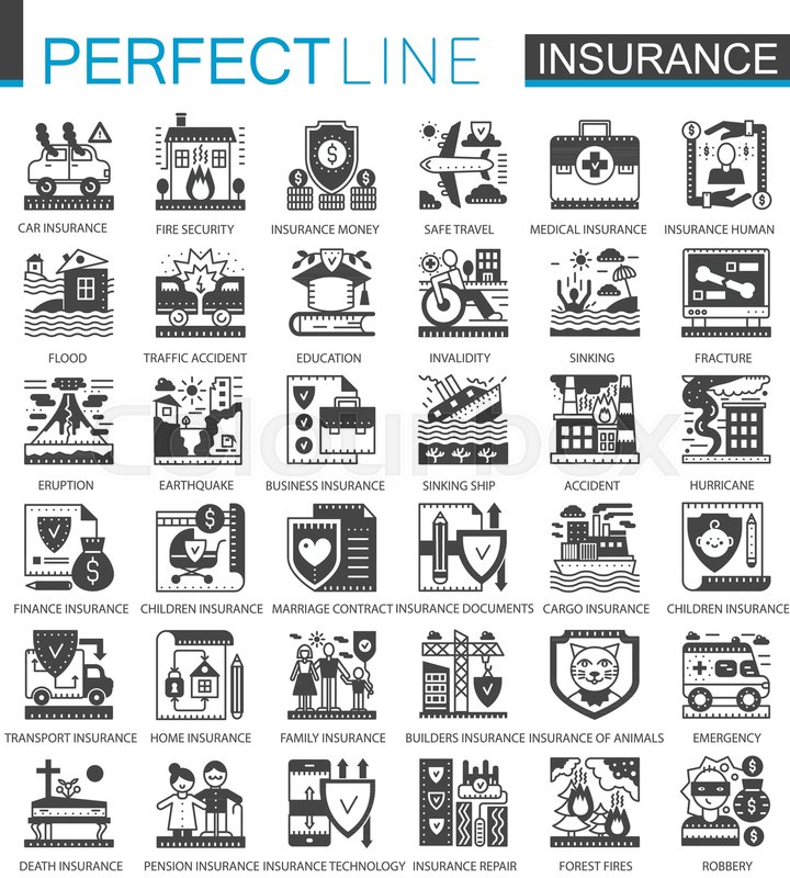 Insurance Black Mini Concept Symbols Accident Protection Modern