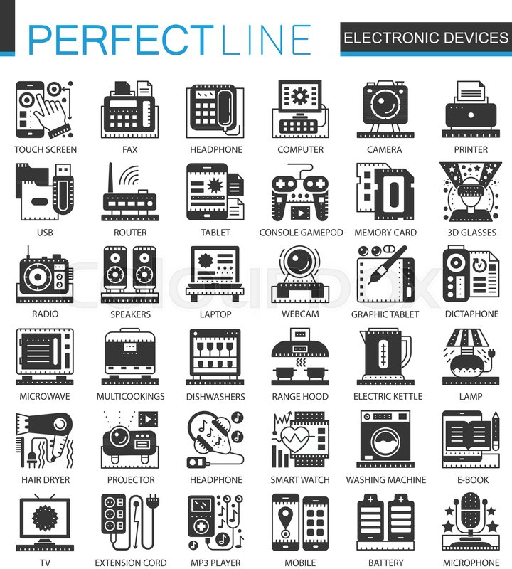 Electronic Devices Classic Black Mini Concept Symbols Vector