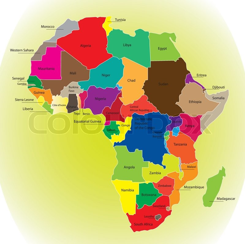 Detail Color Map Of African Continent Stock Vector Colourbox