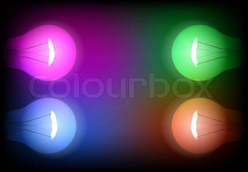 Neon Light Bulbs >> Four Neon Light Bulb Illustration Stock Vector Colourbox