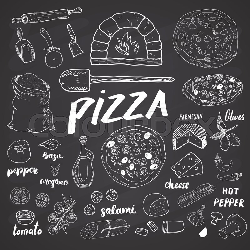 Pizza Menu Hand Drawn Sketch Set Preparation Design Template With Cheese Olives Salami Mushrooms Tomatoes Flour And Other Ingredients Vector