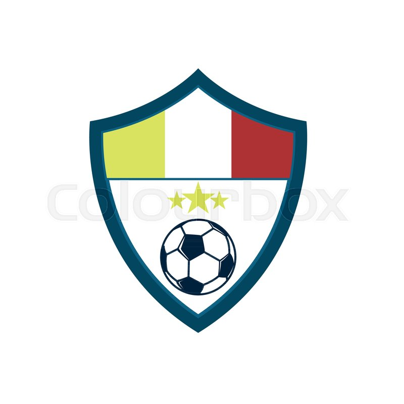 soccer fever concave shield footbal club emblem vector illustration