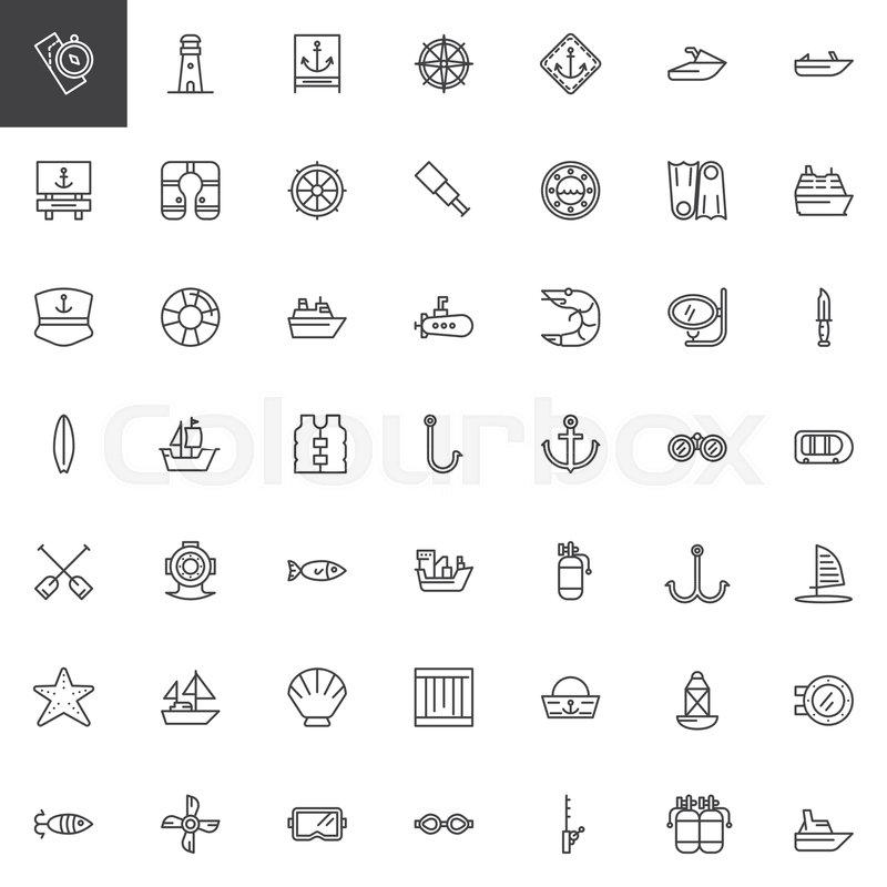 190e63238 Nautical outline icons set. linear ... | Stock vector | Colourbox