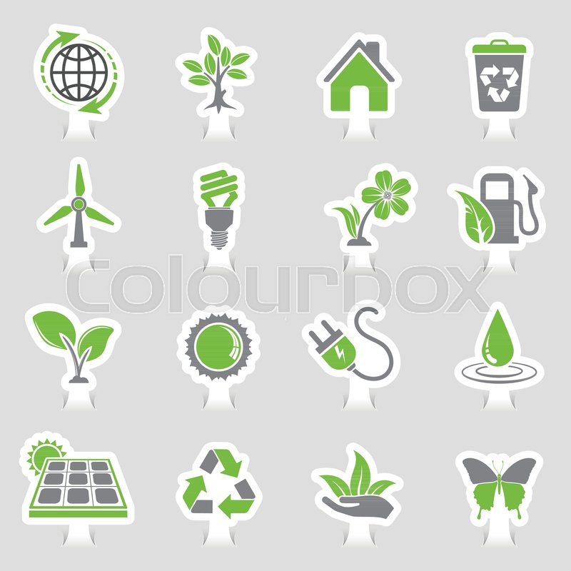 Collect Environment Icons Sticker Set With Tree Leaf Light Bulb