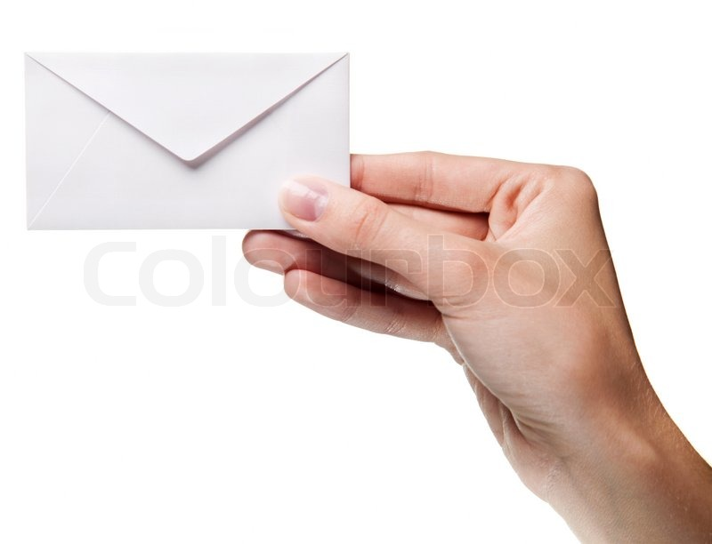 woman u0026 39 s hand holding closed envelope isolated