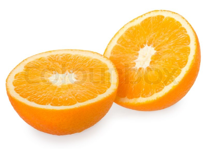 Two halves of orange isolated on white | Stock Photo ...