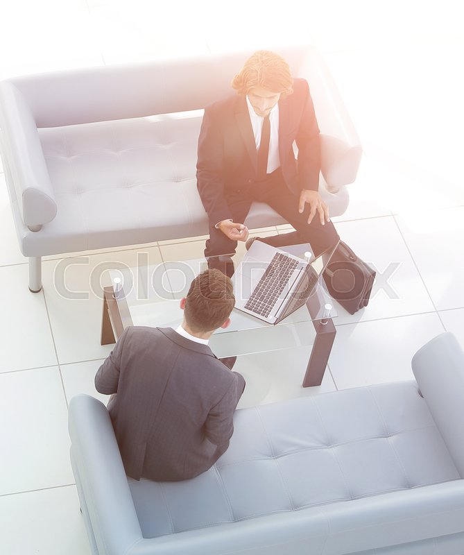 View from the top .meeting business colleagues.photo with copy space, stock photo