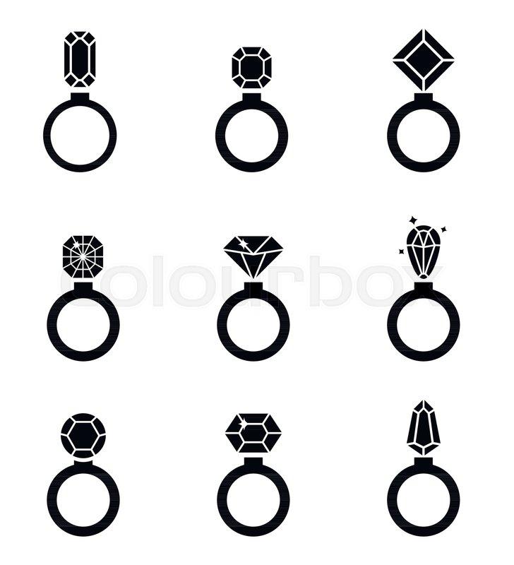 Diamond ring Icon Vector Simple flat symbols Jewelry icons set