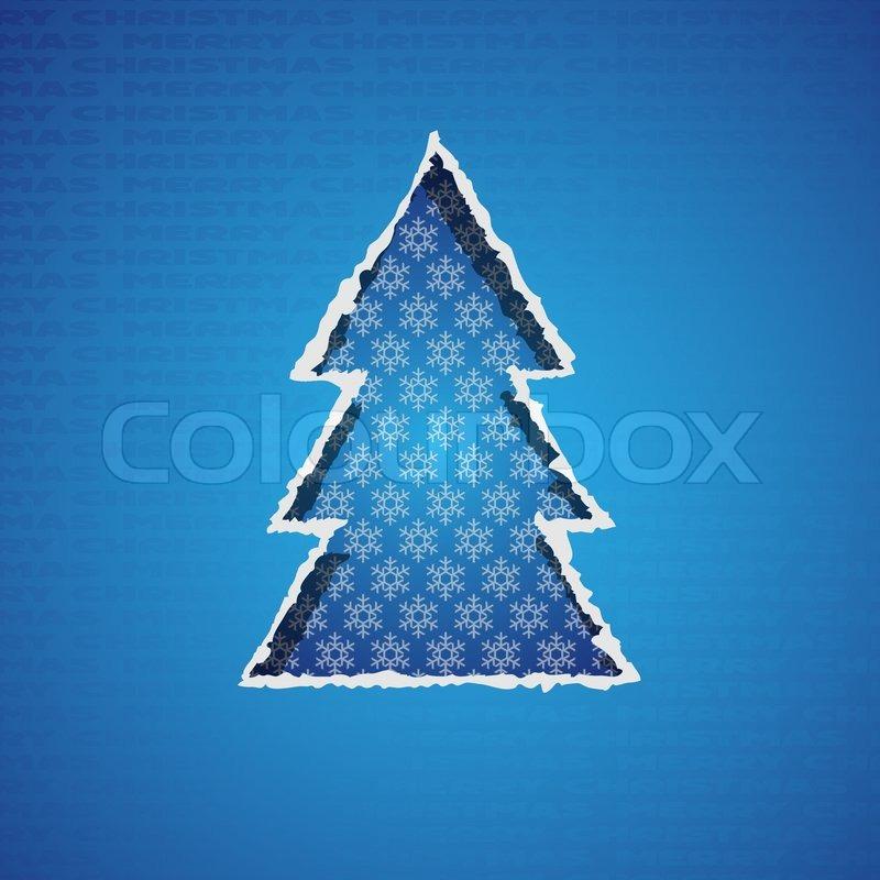 Blaue weihnachtsbaum aus zerrissenem papier gebildet - Weihnachtsbaum vektor ...