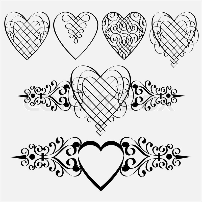 Vector set of calligraphic hearts stock colourbox