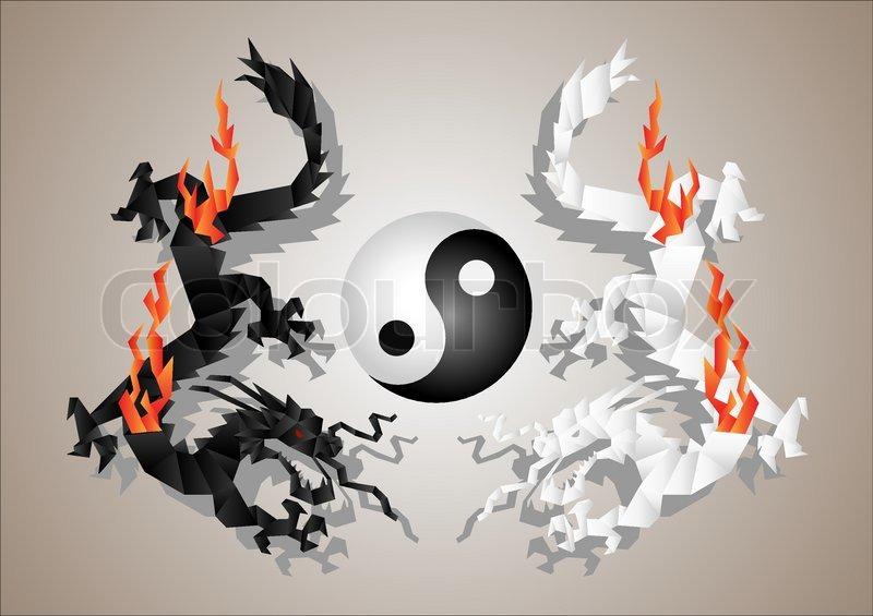 Chinesische Drachen Yin und YangSymbol Konzept  Vektorgrafik