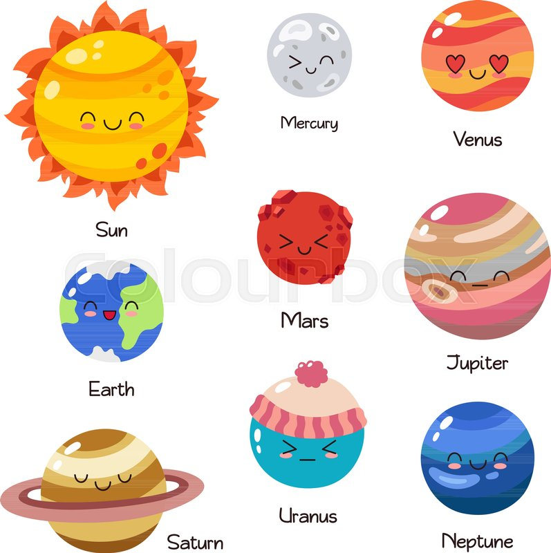 Coloring for Kids colors of the planets in the solar system for kids : Set of vector doodle cartoon icons ... | Stock Vector | Colourbox