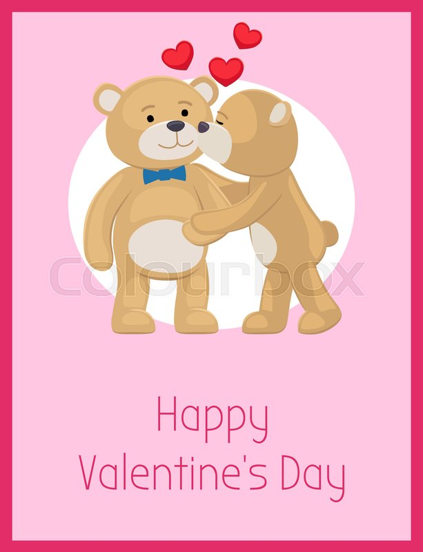 Happy Valentines Day Poster Teddy Bears Couple Female Kisses Male