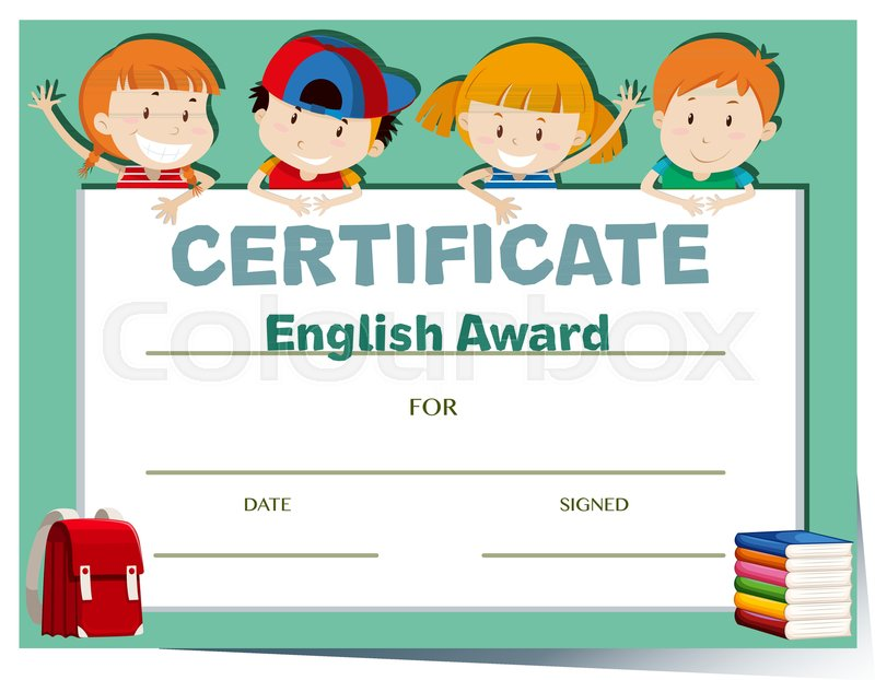 Certificate Template With Happy Kids Stock Vector Colourbox