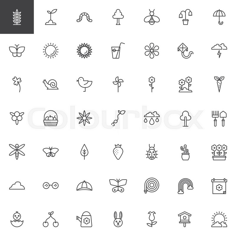 Spring Season Universal Outline Icons Set Linear Style Symbols