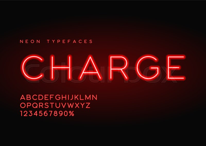 charge vector linear neon typefaces alphabet letters font typography global swatches stock vector colourbox