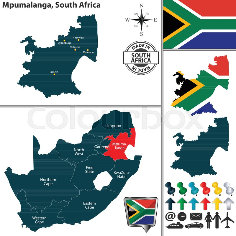 mpumalanga south africa map Vector Map Of Mpumalanga Province And Stock Vector Colourbox mpumalanga south africa map